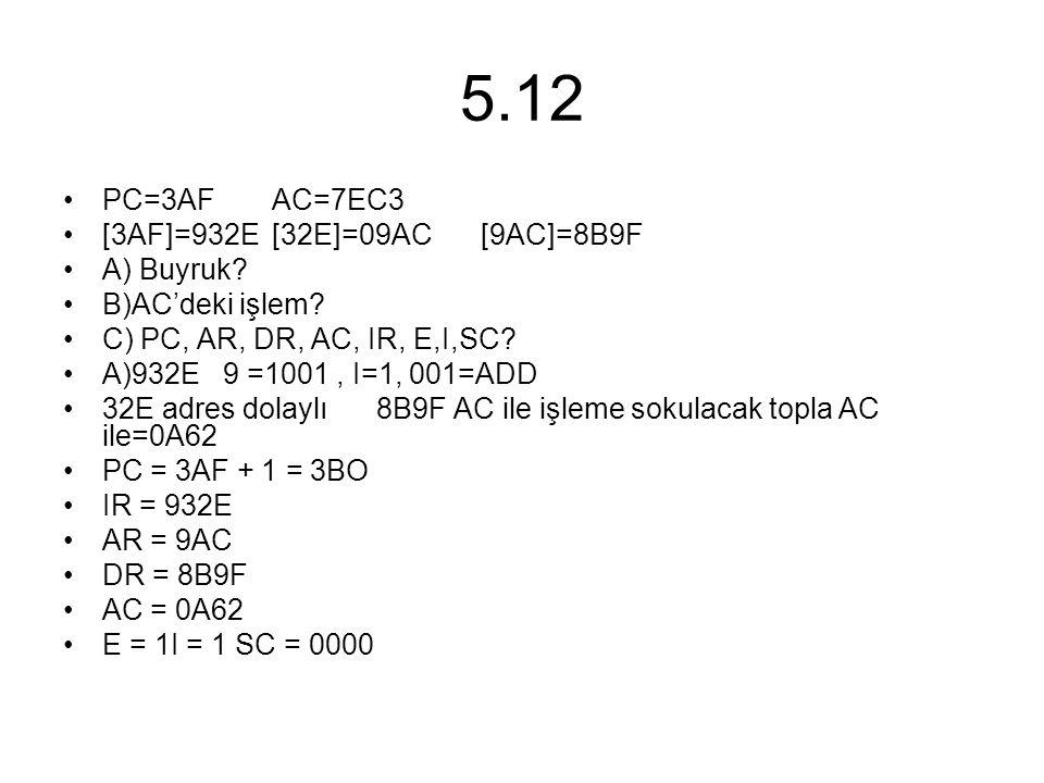 5.12 PC=3AF AC=7EC3 [3AF]=932E [32E]=09AC [9AC]=8B9F A) Buyruk